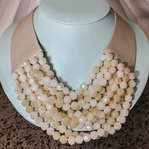 Real Leather with Glass Beads Bib Necklace